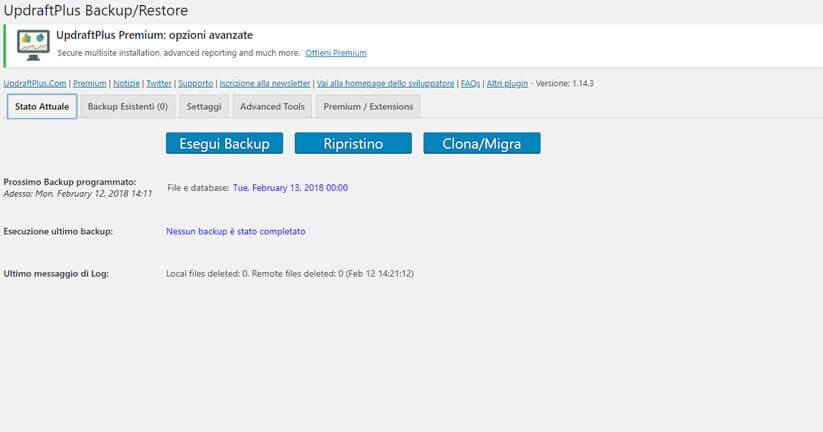 come fare il backup di un sito wordpress figura 1