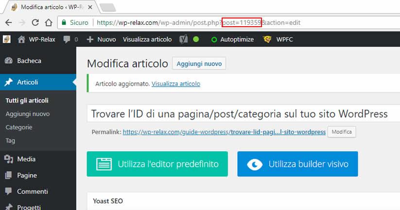 trovare l'id di una pagina/post/categoria sul tuo sito wordpress figura 2